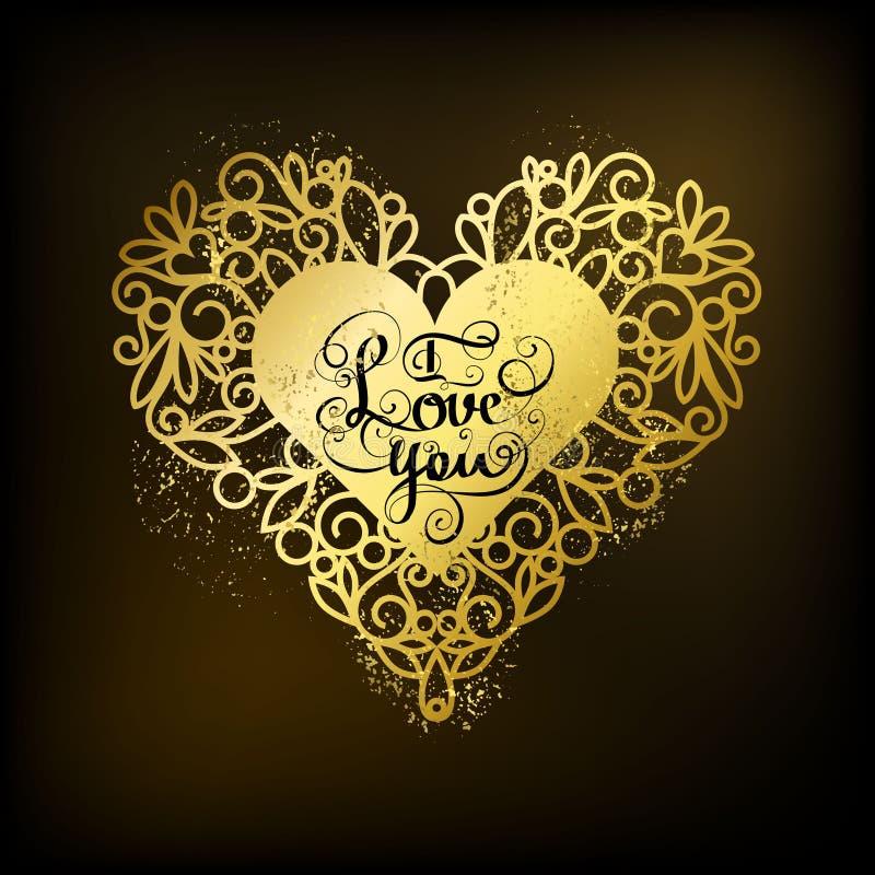 Download I Love You. Romantic Inspiration Quote Stock Vector   Illustration  Of Golden, Handwritten