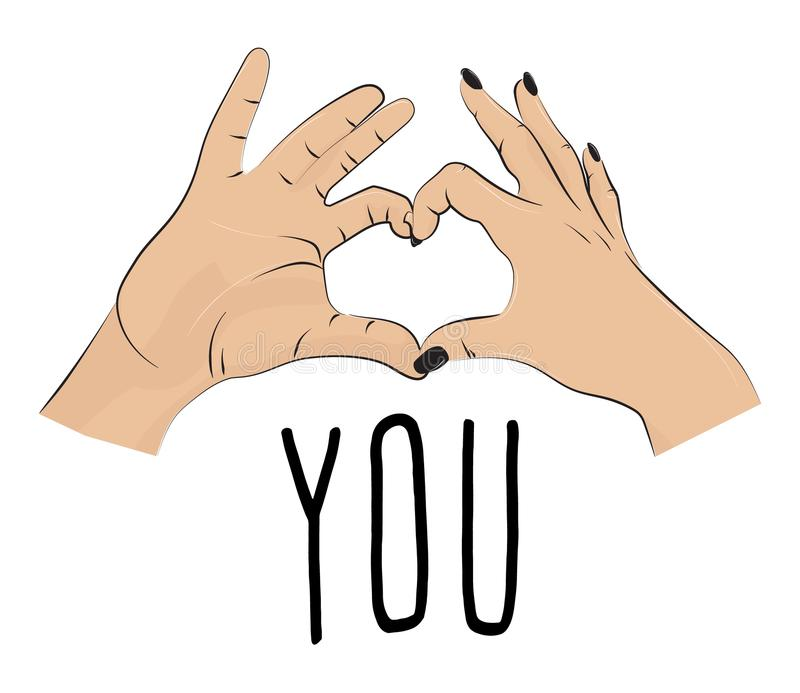 I love you romantic print. Valentines fingers heart gesture. Fingers together showing love and romance. typographic greeting card. On Valentines day, wedding vector illustration