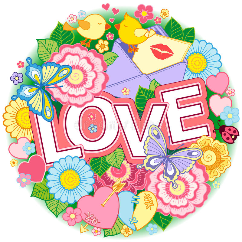 I love you. Rounder frame made of flowers, butterflies, birds kissing and the word love. Rounder frame made of flowers, butterflies, birds kissing and the word vector illustration