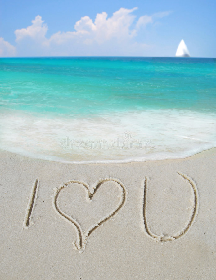 I Love You on Sand stock photo