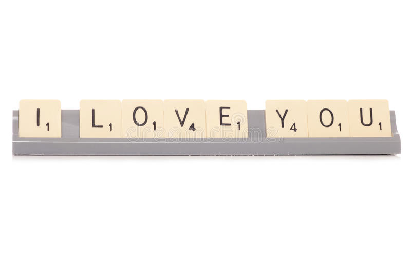 I love you scrabble tiles royalty free stock image