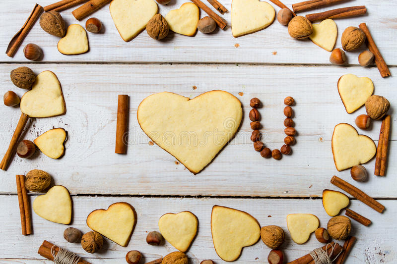 I love you sentence arranged with cookies no. 9 royalty free stock photos