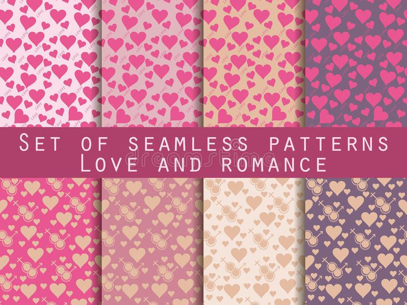 I love you. Set of seamless patterns with hearts. Festive pattern for wrapping paper, wallpaper, tiles, fabrics, backgrounds. royalty free illustration