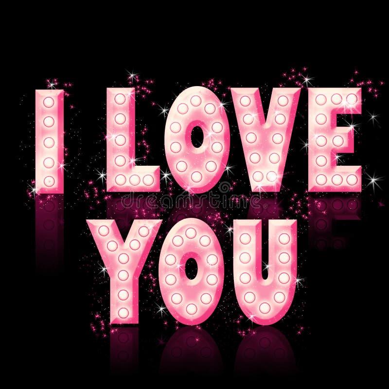 I Love you, shiny text stock illustration
