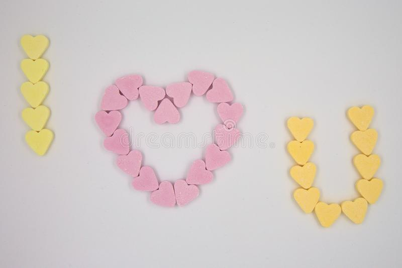 Candy Hearts Message stock photo