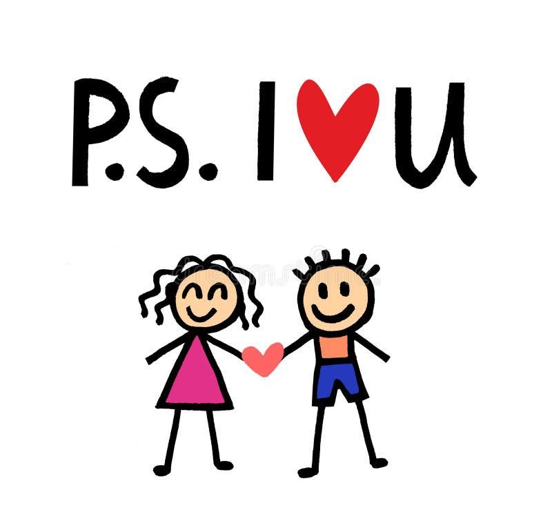 I Love you. Stick figures.  vector illustration
