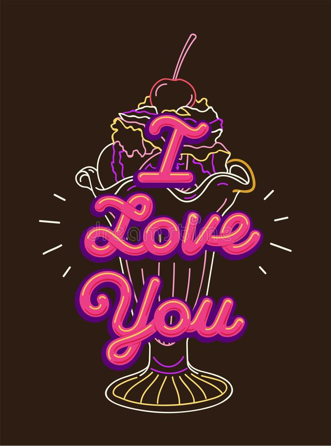 I love you t-shirt print and embroidery. Graphic tee typography slogan I love you for t-shirt printing and embroidery. Design element with ice cream cocktail stock illustration