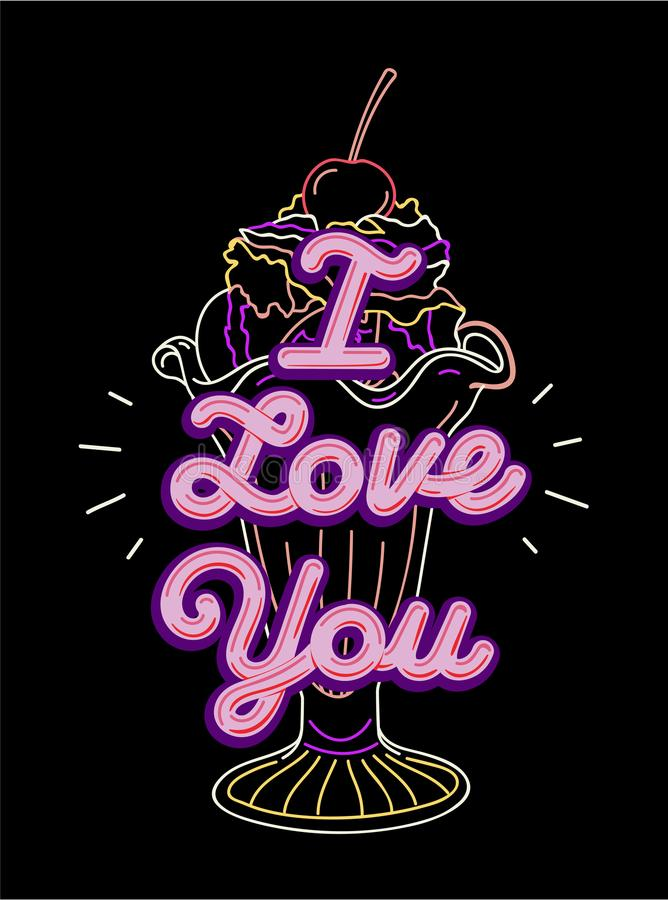 I love you t-shirt print and embroidery. Graphic tee typography slogan I love you for t-shirt printing and embroidery. Design with ultraviolet elements. Love stock illustration