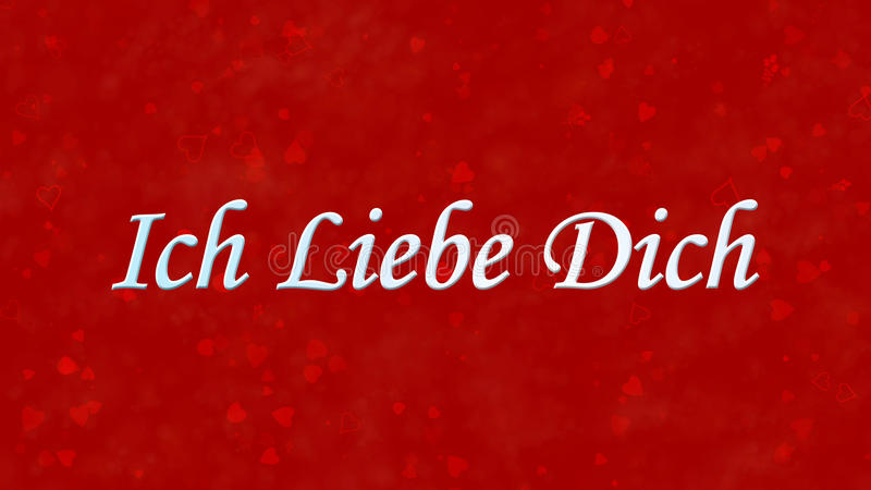 I Love You Text In German Ich Liebe Dich On Red Background
