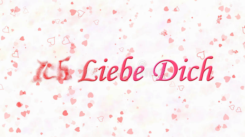 I Love You text in German Ich Liebe Dich turns to dust from left on white background. I Love You text in German Ich Liebe Dich turns to dust horizontally from stock illustration