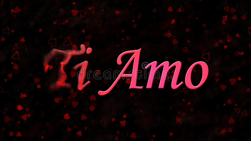 I Love You text in Italian Ti Amo turns to dust from left on dark background. I Love You text in Italian Ti Amo turns to dust horizontally from left on black stock illustration