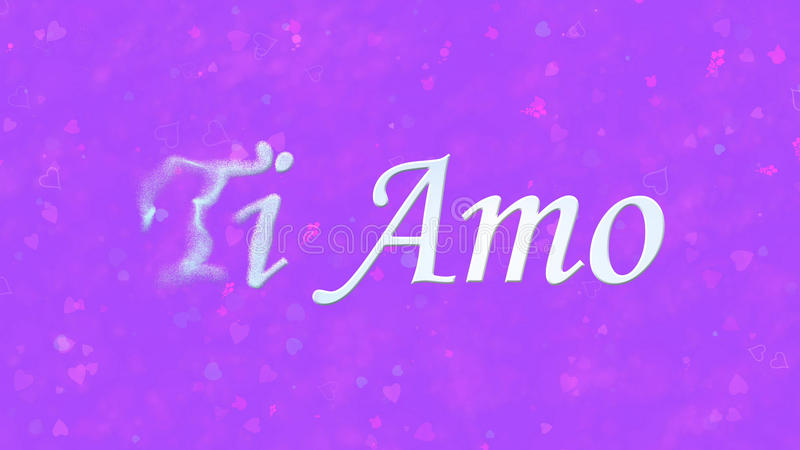 I Love You text in Italian Ti Amo turns to dust from left on purple background. I Love You text in Italian Ti Amo turns to dust horizontally from left on purple royalty free illustration
