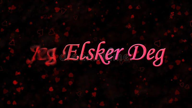 I Love You text in Norwegian Jeg Elsker Deg turns to dust from left on dark background. I Love You text in Norwegian Jeg Elsker Deg turns to dust horizontally stock illustration