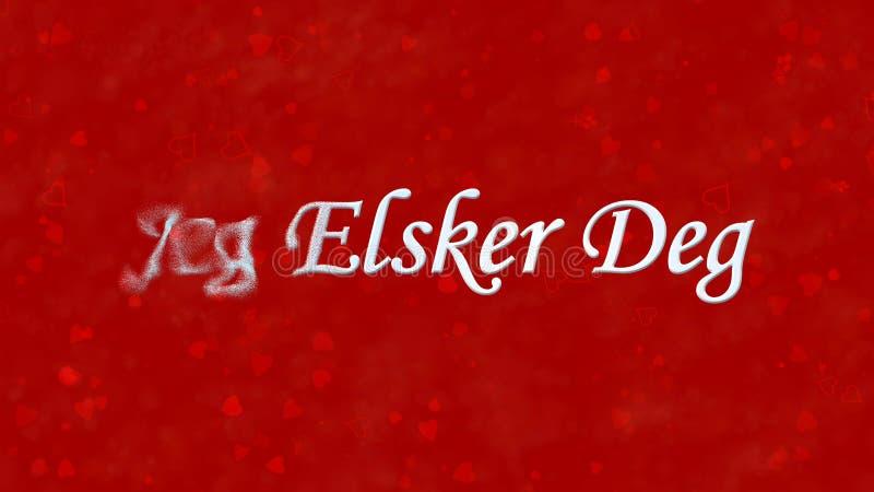 I Love You text in Norwegian Jeg Elsker Deg turns to dust from left on red background. I Love You text in Norwegian Jeg Elsker Deg turns to dust horizontally vector illustration