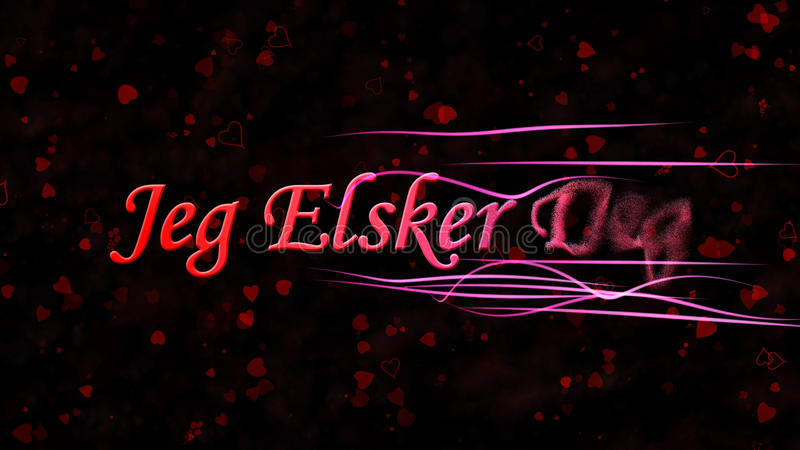 I Love You text in Norwegian Jeg Elsker Deg turns to dust from right on dark background. I Love You text in Norwegian Jeg Elsker Deg turns to dust horizontally vector illustration