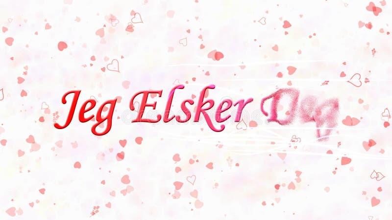 I Love You text in Norwegian Jeg Elsker Deg turns to dust from right on white background. I Love You text in Norwegian Jeg Elsker Deg turns to dust horizontally vector illustration