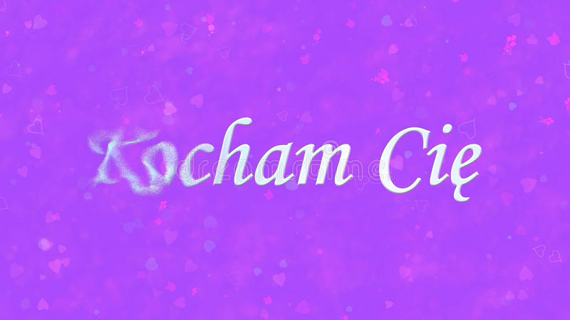 I Love You text in Polish Kocham Cie turns to dust from left on purple background. I Love You text in Polish Kocham Cie turns to dust horizontally from left on stock illustration