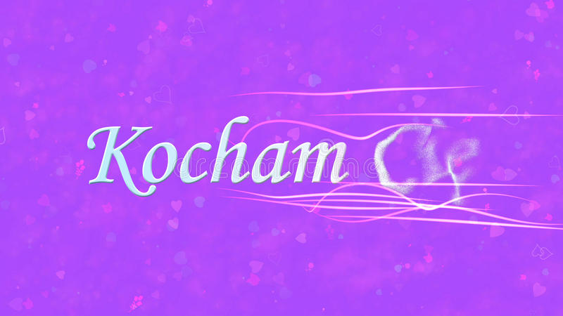 I Love You text in Polish Kocham Cie turns to dust from right on purple background. I Love You text in Polish Kocham Cie turns to dust horizontally from right vector illustration