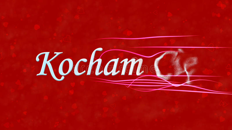 I Love You text in Polish Kocham Cie turns to dust from right on red background. I Love You text in Polish Kocham Cie turns to dust horizontally from right with stock illustration