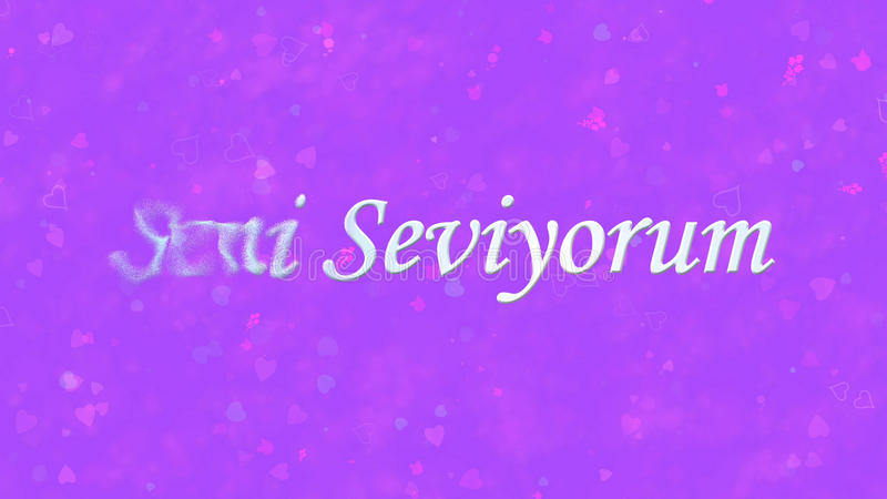 I Love You text in Turkish Seni Seviyorum turns to dust from left on purple background. I Love You text in Turkish Seni Seviyorum turns to dust horizontally from vector illustration