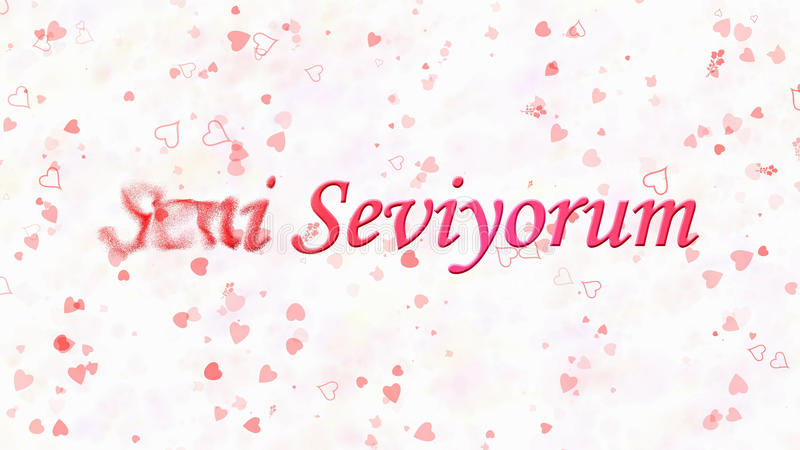 I Love You text in Turkish Seni Seviyorum turns to dust from left on white background. I Love You text in Turkish Seni Seviyorum turns to dust horizontally from royalty free illustration