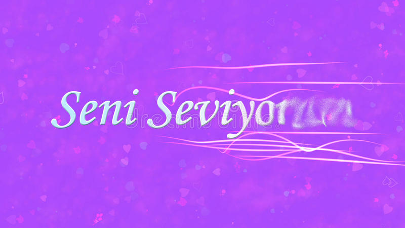 I Love You text in Turkish Seni Seviyorum turns to dust from right on purple background. I Love You text in Turkish Seni Seviyorum turns to dust horizontally royalty free illustration