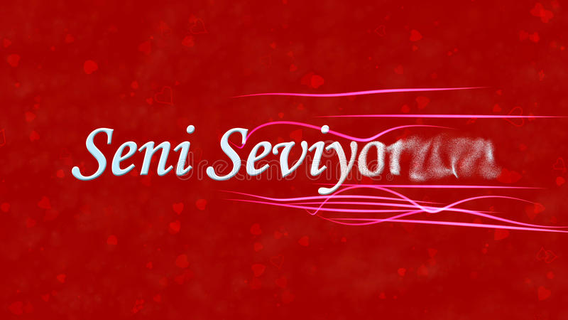 I Love You text in Turkish Seni Seviyorum turns to dust from right on red background. I Love You text in Turkish Seni Seviyorum turns to dust horizontally from vector illustration