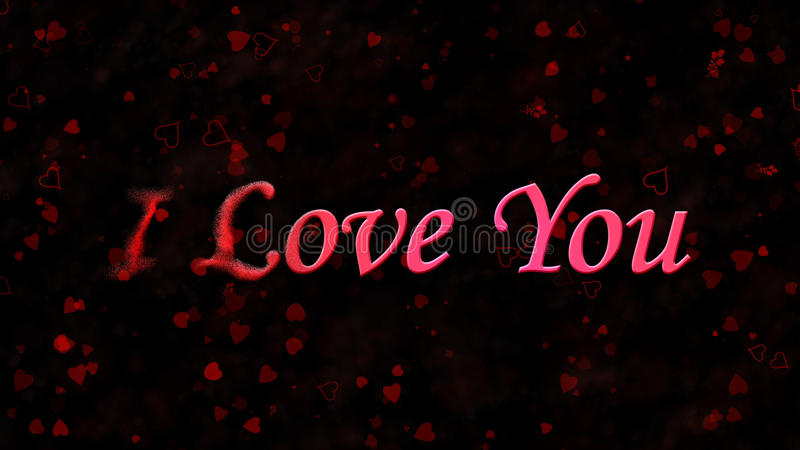 I Love You text turns to dust from left on dark background. I Love You text turns to dust horizontally from left on black background with hearts and roses royalty free illustration