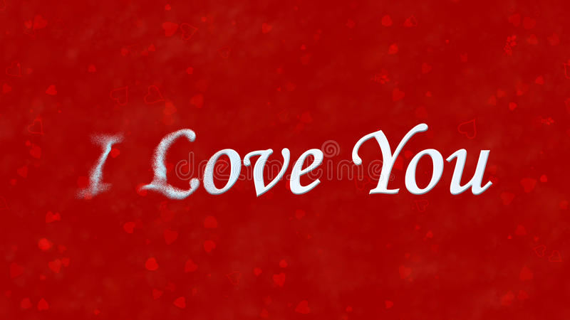 I Love You text turns to dust from left on red background. I Love You text turns to dust horizontally from left on red background with hearts and roses vector illustration