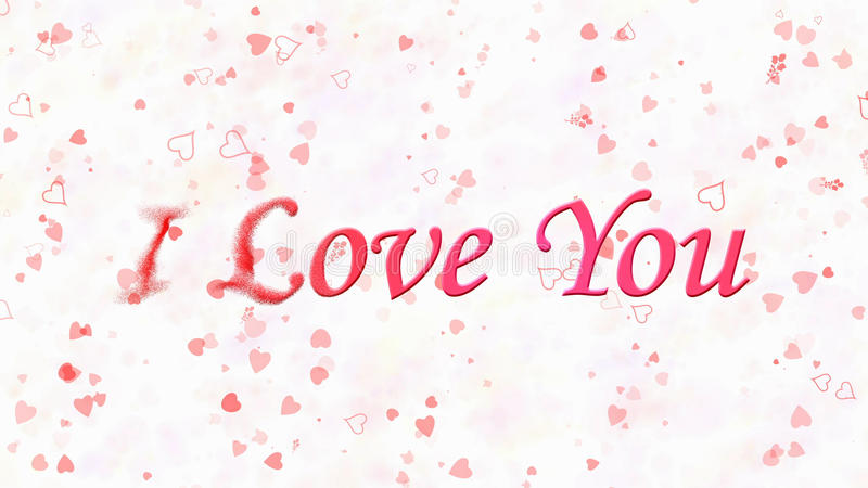 I Love You text turns to dust from left on white background. I Love You text turns to dust horizontally from left on white background with hearts and roses stock illustration