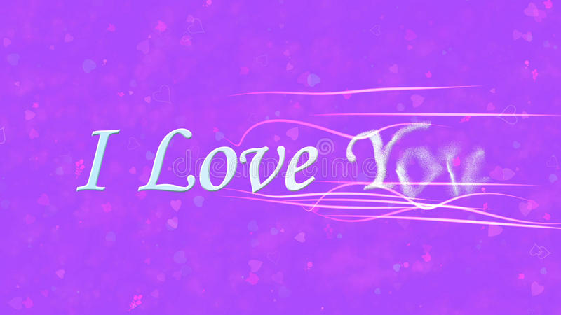 I Love You text turns to dust from right on purple background. I Love You text turns to dust horizontally from right with moving stripes on purple background royalty free illustration