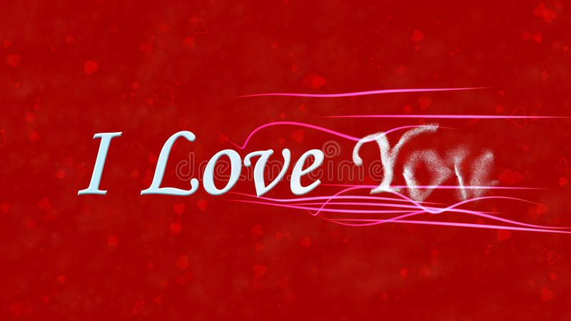 I Love You text turns to dust from right on red background. I Love You text turns to dust horizontally from right with moving stripes on red background with stock illustration