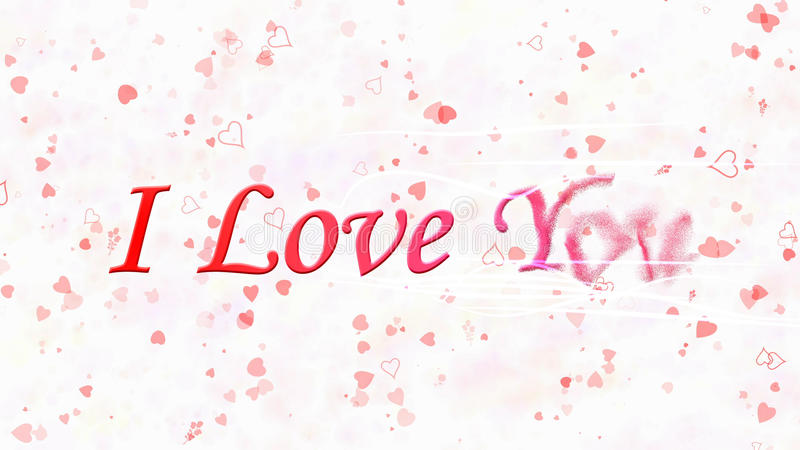 I Love You text turns to dust from right on white background. I Love You text turns to dust horizontally from right with moving stripes on white background with royalty free illustration