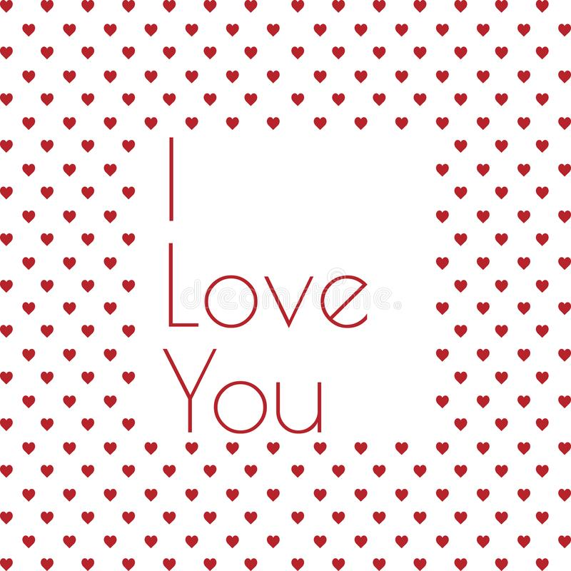 I love you valentines day greeting card with hearts background vector illustration