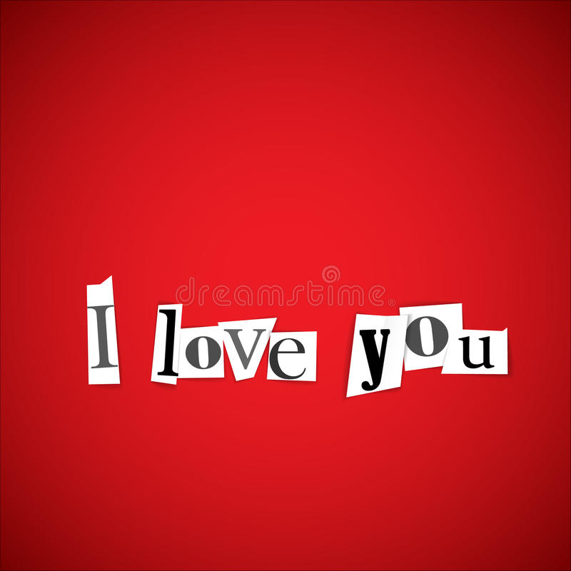 I love you vector illustration. Made from anonymouse letters stock illustration