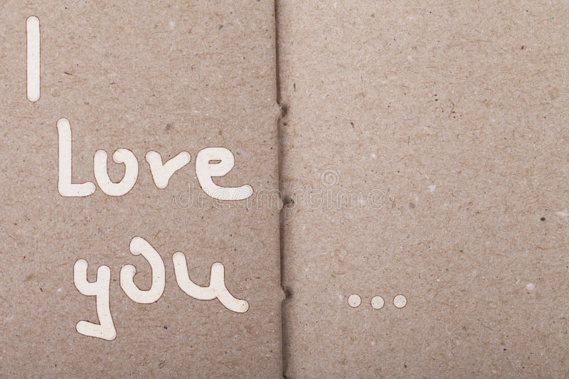 I LOVE YOU on vintage paper royalty free stock photos
