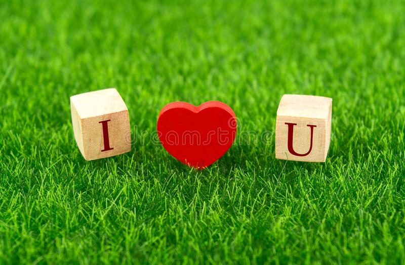 I love you in wooden cube royalty free stock image