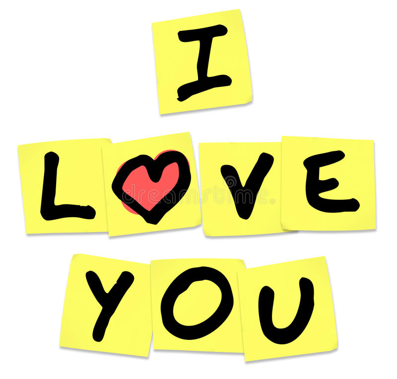 I Love You - Words on Yellow Sticky Notes vector illustration