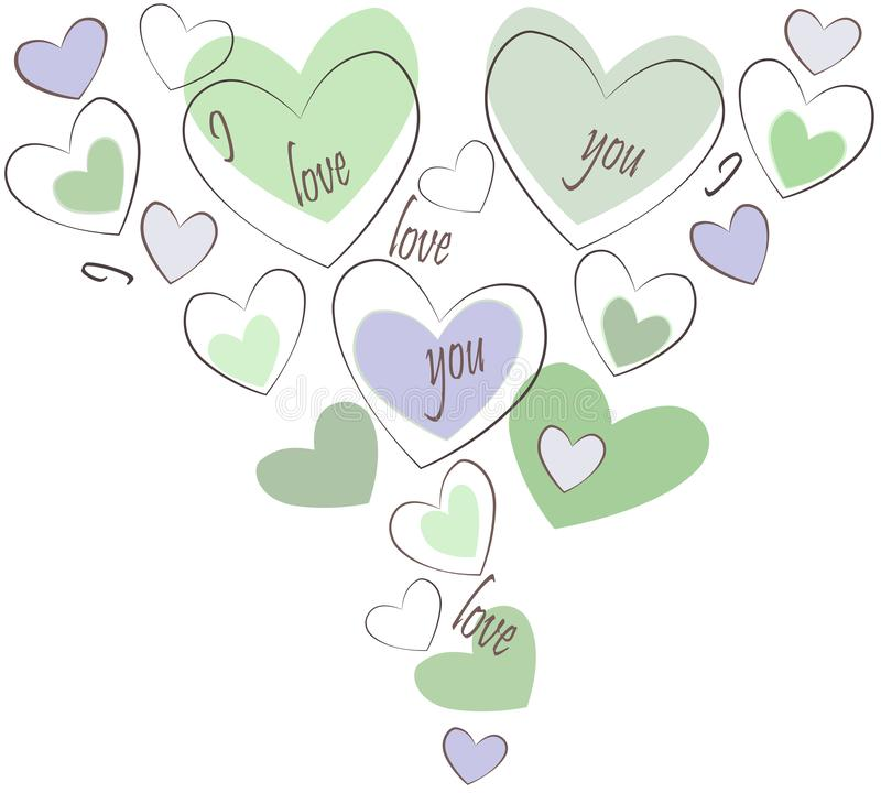 I love you. Writing and hearts. Vector illustration. Art.  vector illustration