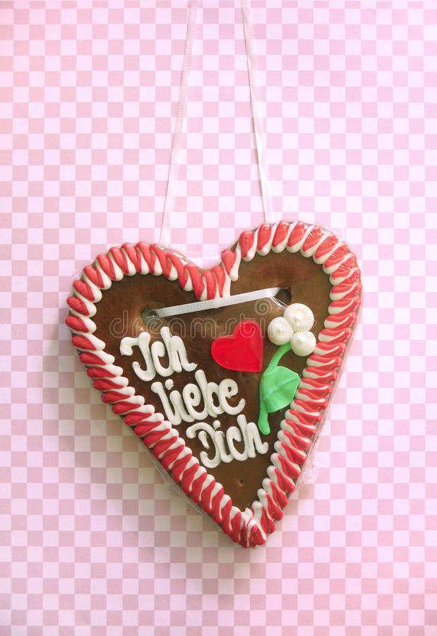 I love you written on a gingerbread heart royalty free stock image