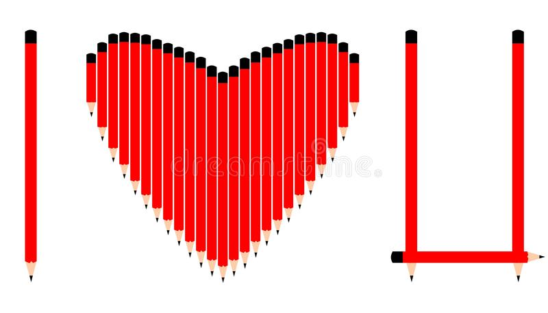 I love you written with red pencils. On white background vector illustration