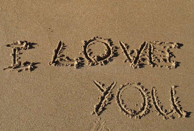 I love you written in sand