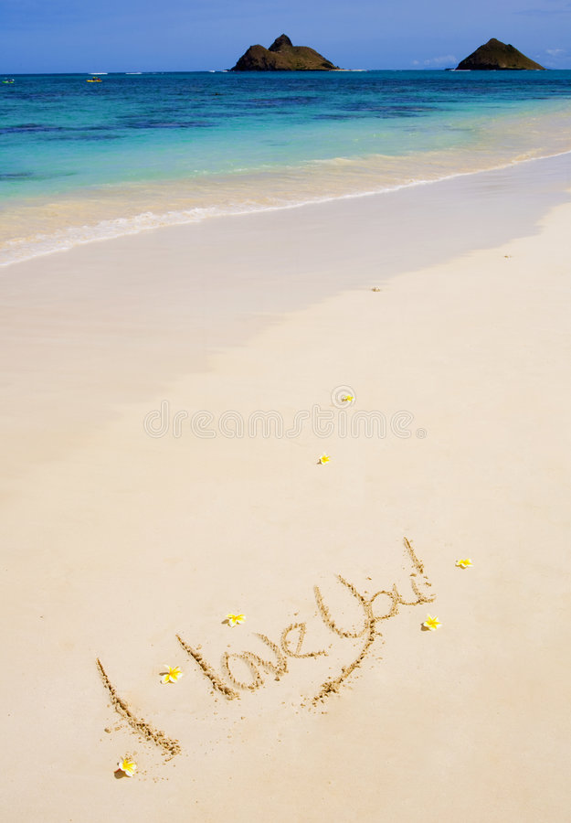 Download I Love You  Written On A Sandy Beach Royalty Free Stock Images - Image: 8582889