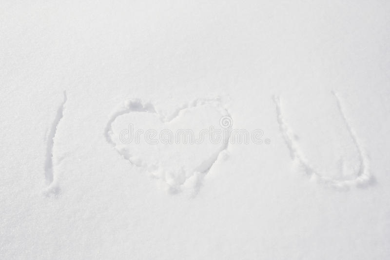 Download I Love You written in Snow stock image. Image of card - 12335885