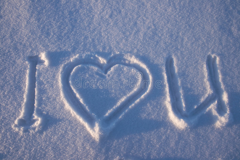I love you written on a snow stock photo