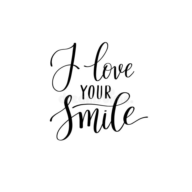 Download I Love Your Smile Black And White Hand Written Lettering About L Stock Vector