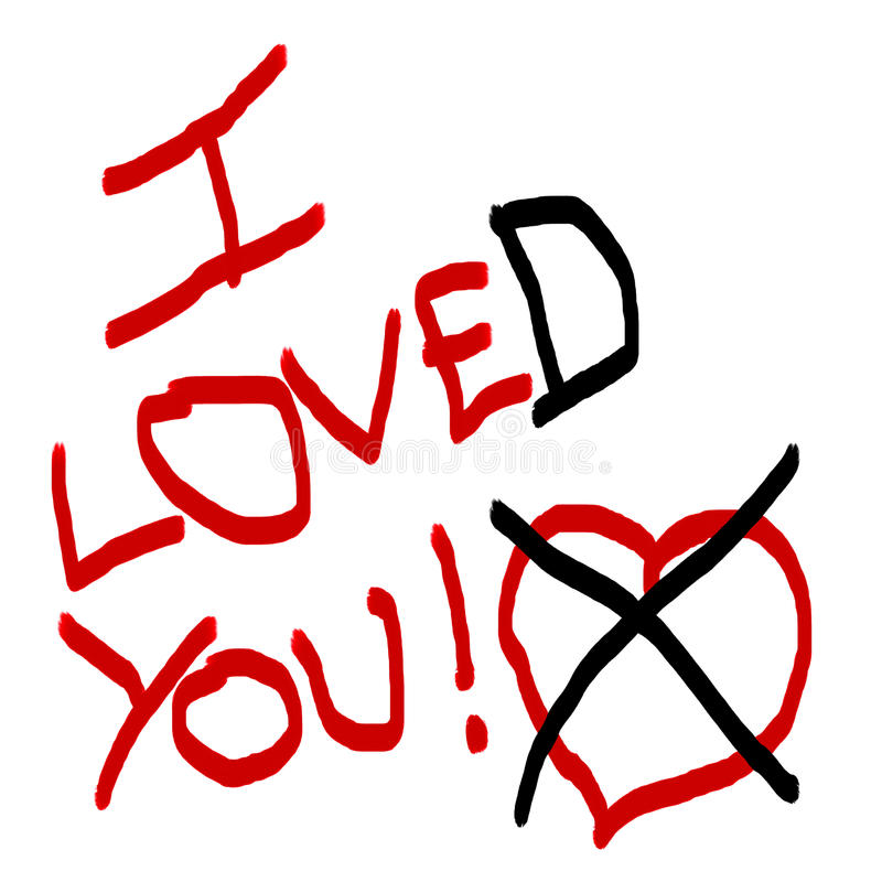 I LoveD You. Drawing showing the concept of a breakup vector illustration