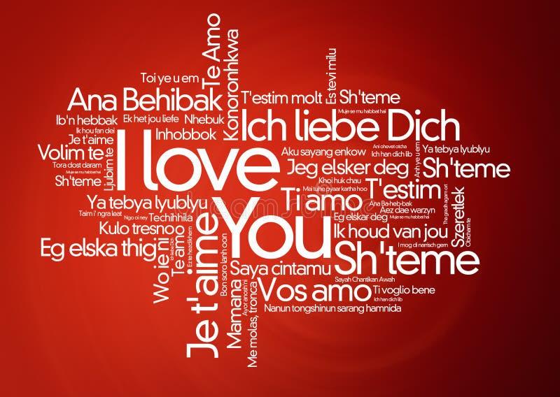 I loveyou dans différentes langues - nuage de mot images stock