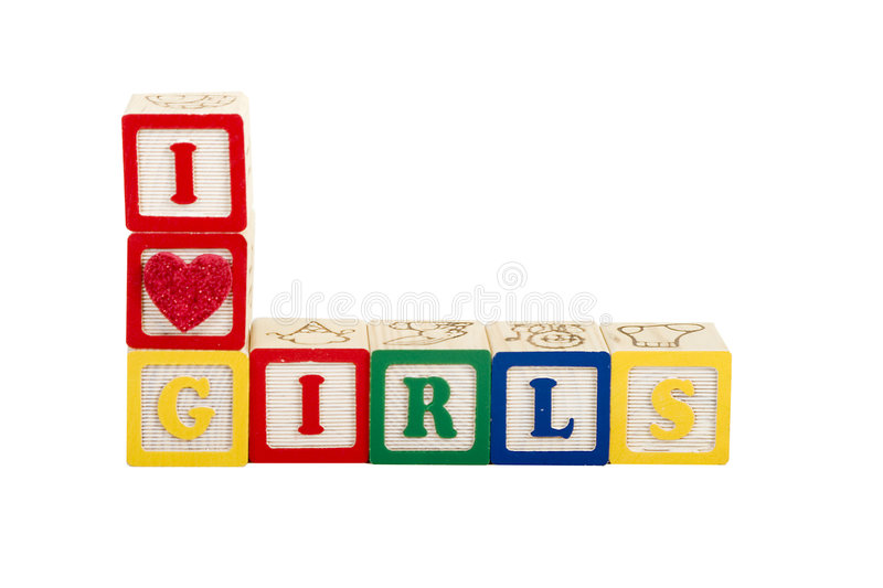 I luv girls stock images