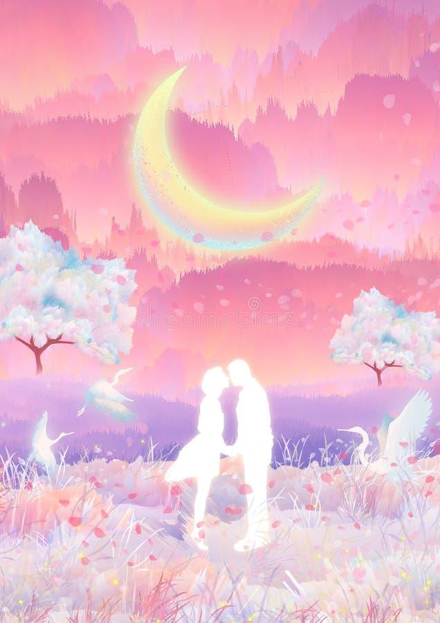 I månskenet kysser kramar par för körsbärsröda blomningar och vektor illustrationer